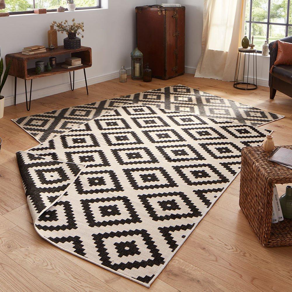 Bougari Malta Wendeteppich In- und Outdoorteppich schwarz   creme 200x290