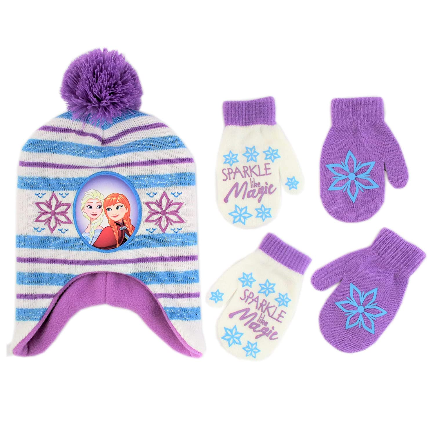 Disney Frozen Hat and 2 Pair Gloves/Mittens Cold Weather Set, Little Girls, Age 2-7 2-7 (Blue ABG Accessories FZF03517AZ1