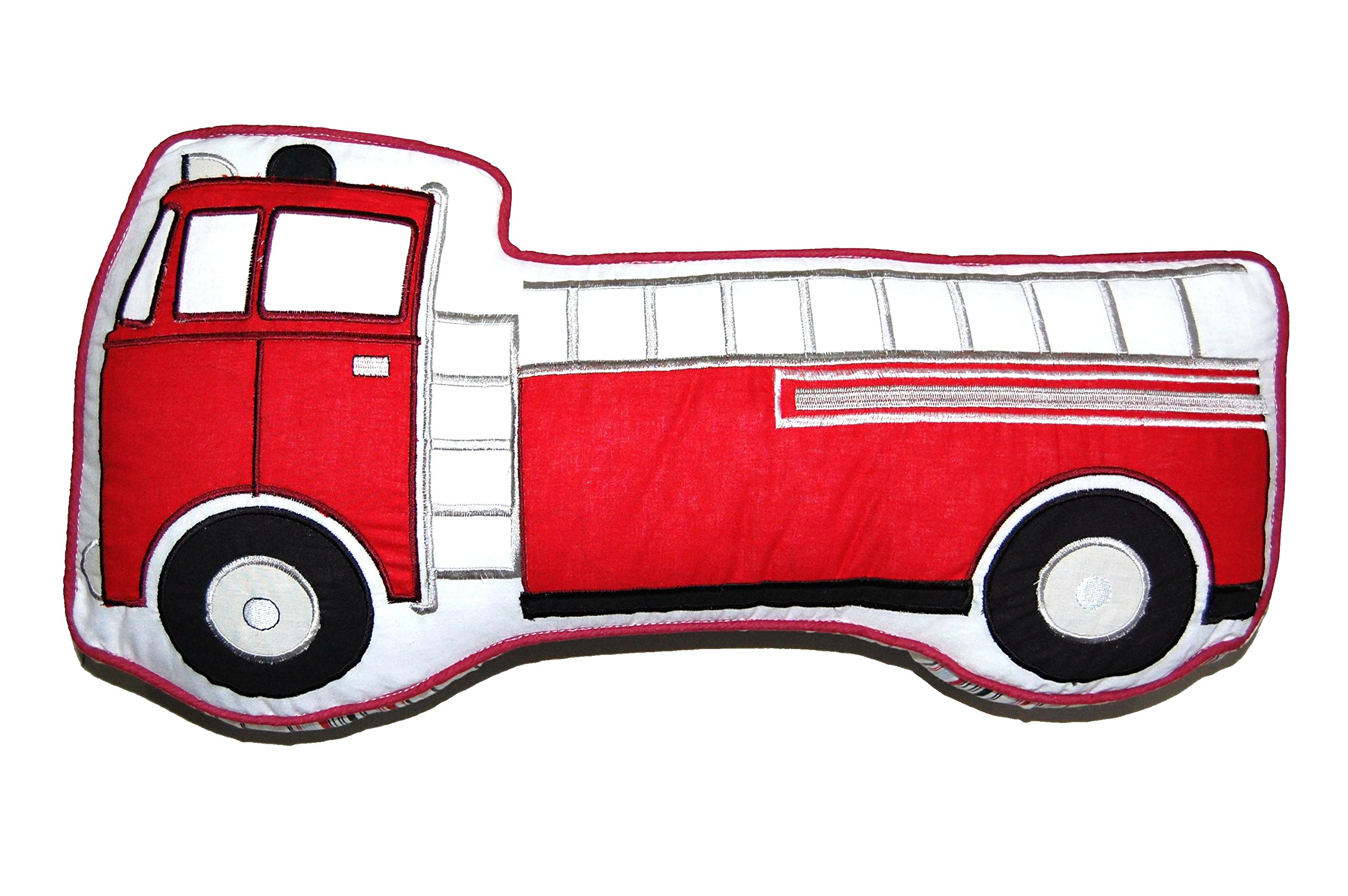 Cozy Line Home Fashions Truck Shape Throw Pillow, Red White Embroidered Print Pattern Stuffed Toy Doll Cotton Decorative Pillow, Gifts for Kid Boys (Truck Pillow 1, Decor Pillow - 1 Piece)