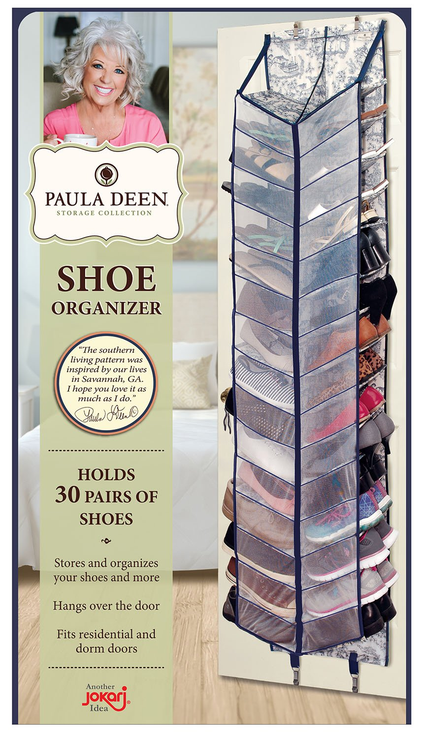 Paula Deen Shoe Organizer - Over The Door 30 Pocket Shoes Storage With Large Compartments for Side by Side Storage - Fits Any Standard Door & Easy to Attach Inside Your Closet by Jokari