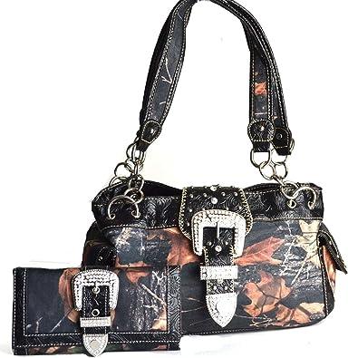 Western Mossy Oak Camo Purse Rhinestone Cross Tooled Leather Like Handbag Brown