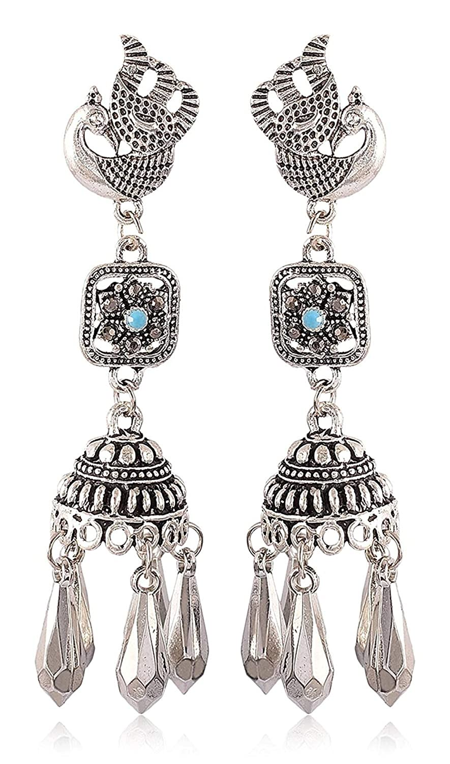 Subharpit Silver Pearl Oxidized Silver Metal Non Precious Indian Ethnic Tratitional Tops Jhumki