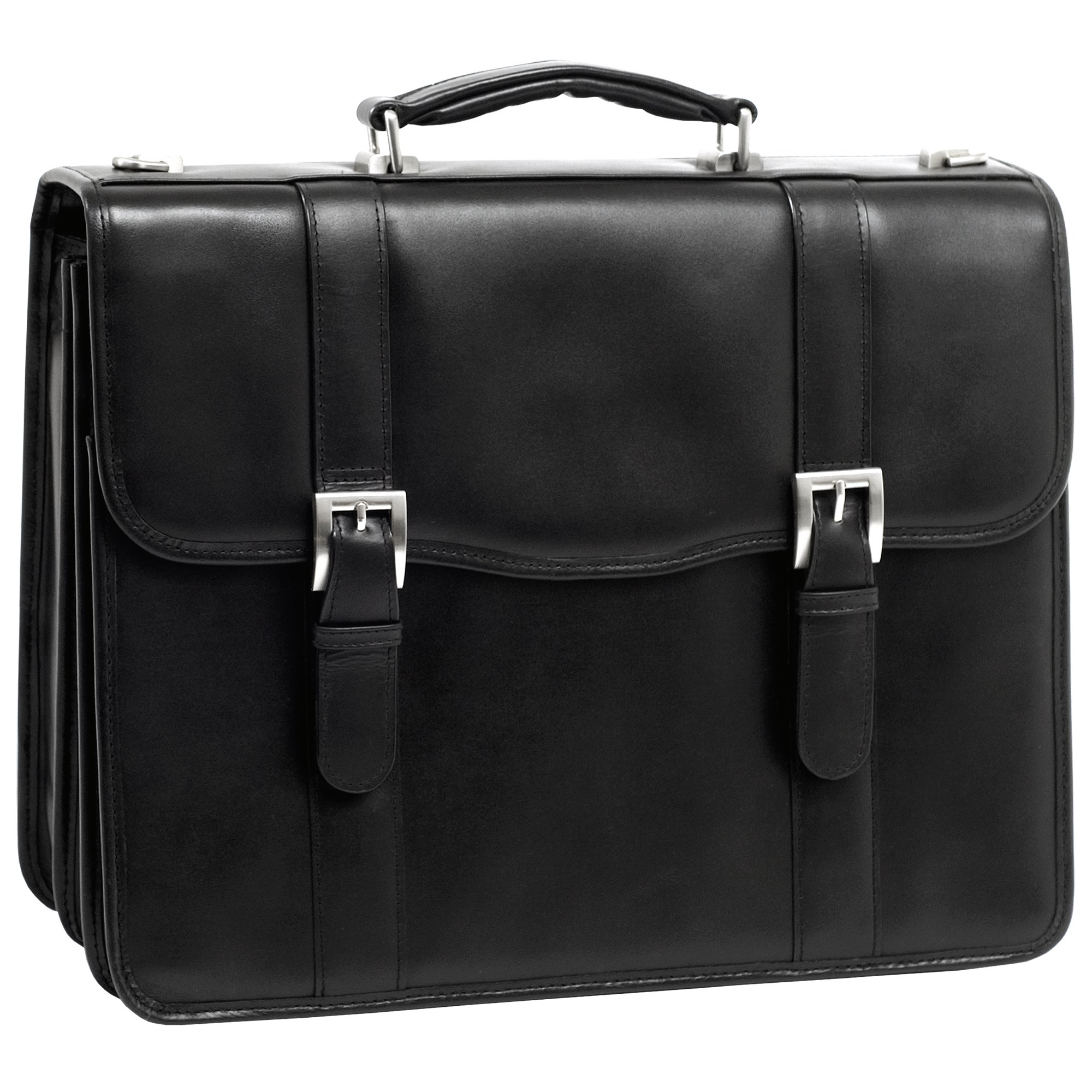 McKlein, V Series, FLOURNOY, Top Grain Cowhide Leather, 15'' Leather Double Compartment Laptop Briefcase, Black (85955)