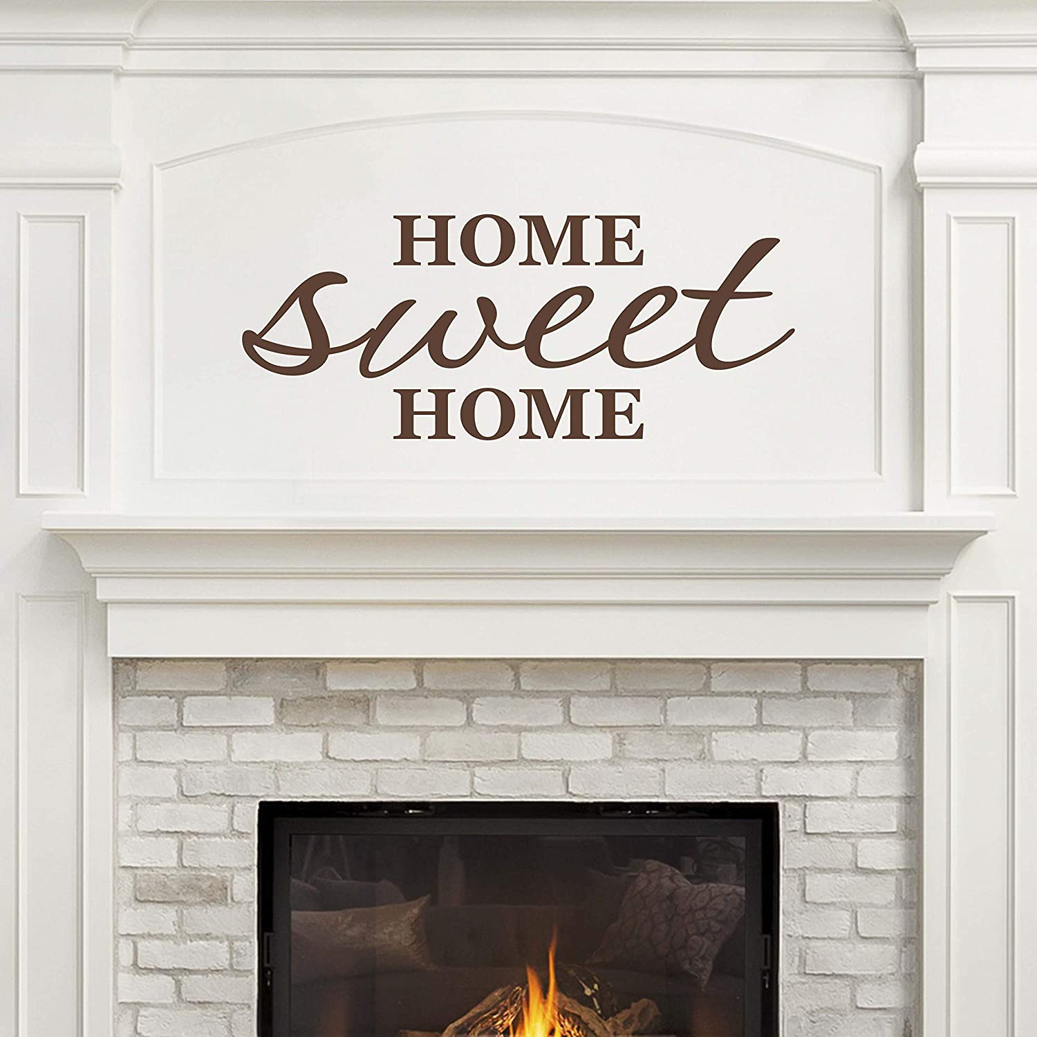 Vinyl Quote Me Home Sweet Home Wall Decal   Living Room Wall Decor   Farmhouse Room Decor   Welcome Home   Made in America   22x9-Brown