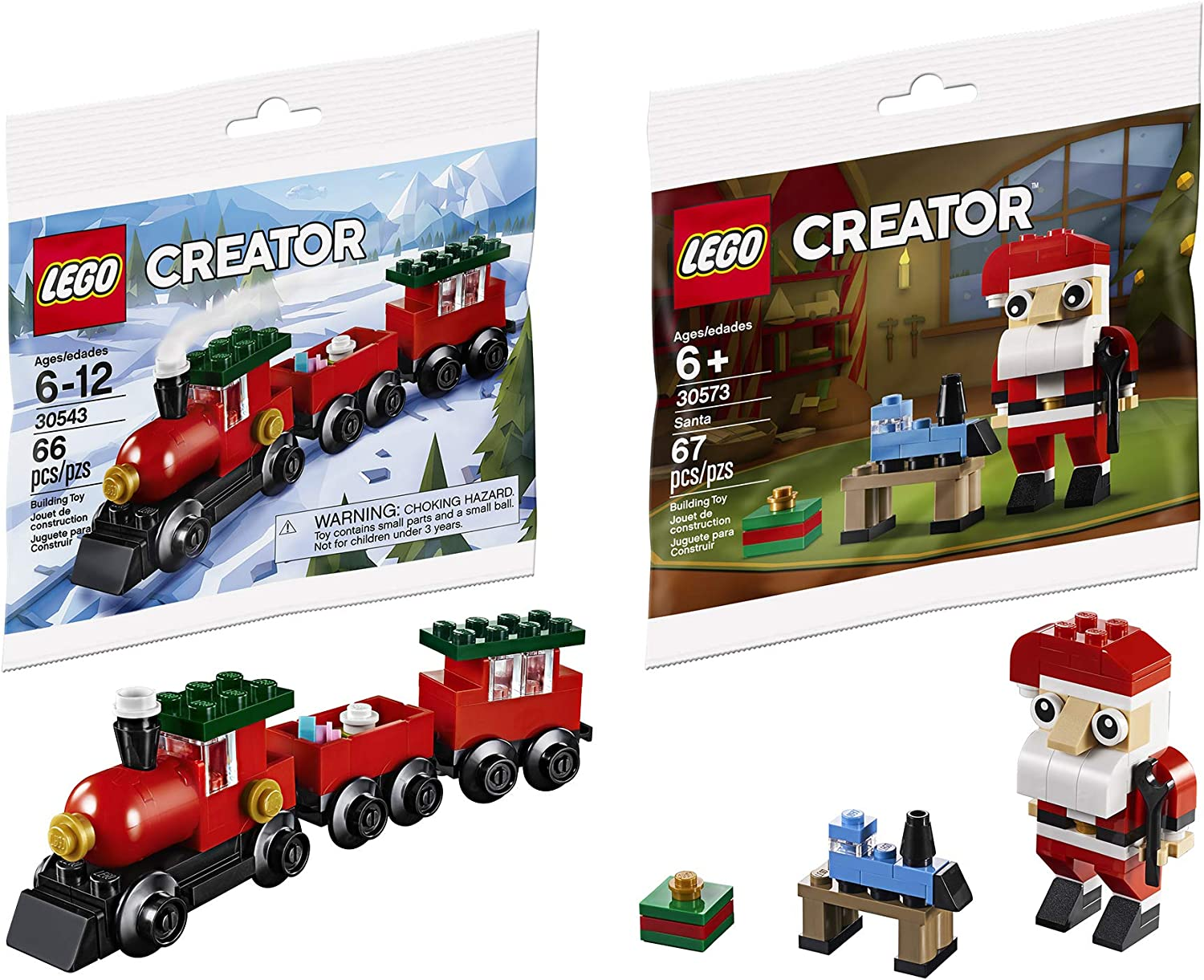 LEGO Ho! Ho! Choo! Choo! Mini Holiday Bag Pack Bundled with Train Building Block Set 30543 Toy & Creator Santa Clause 2 Items