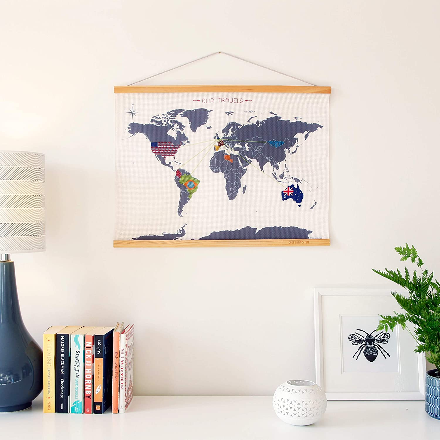 Buy  Suck UK Mini World Map with Cross-stitch Embroidery Kit