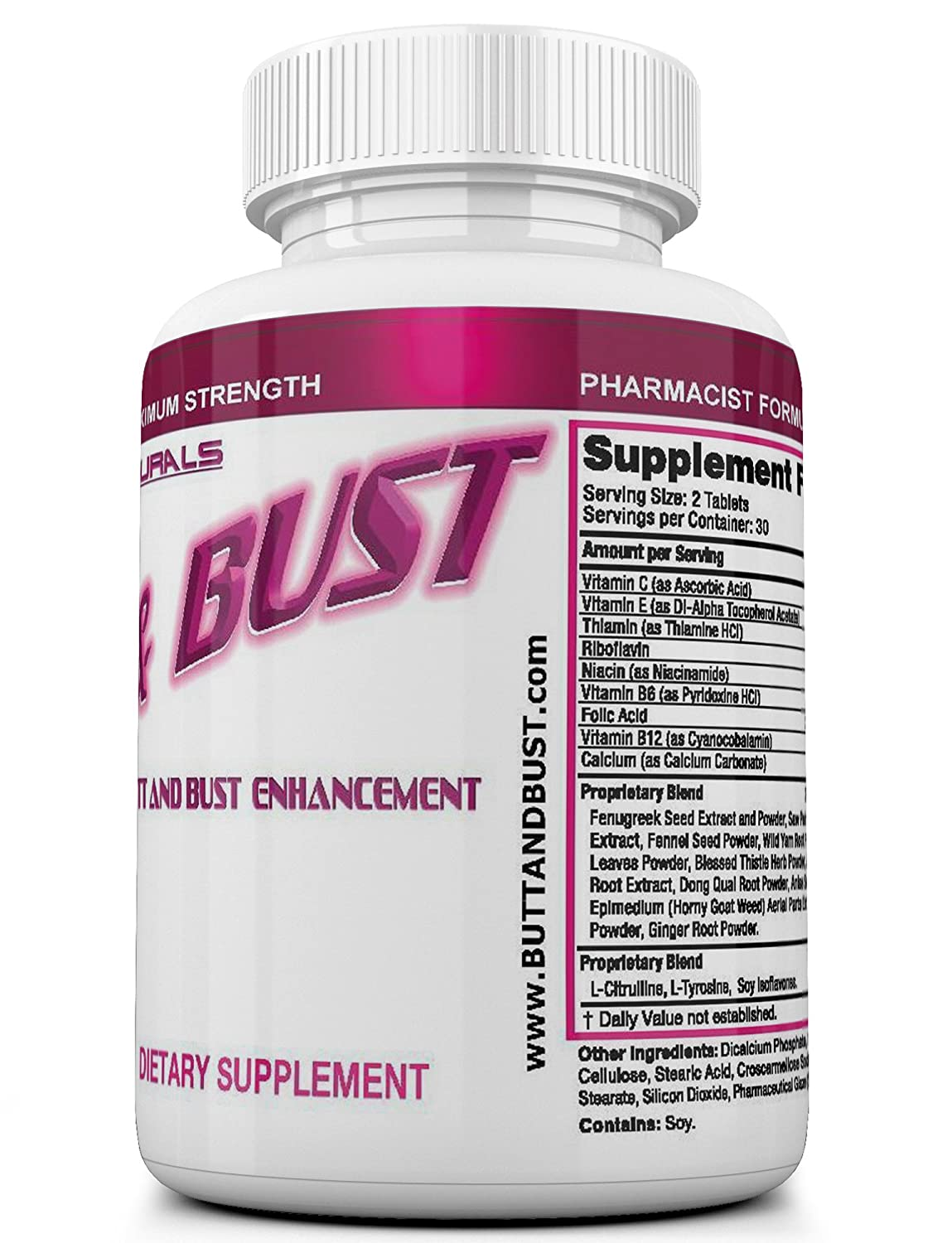 Amazon.com: BUTT AND BUST Natural Breast & Butt Augmentation And Enlargement Pills - 60 Tablets (Double Potency, 2640 mg).: Health & Personal Care