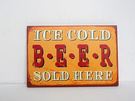 Vintage Retro Lienzo Cartel Hielo Cerveza fría se Vende aquí ...
