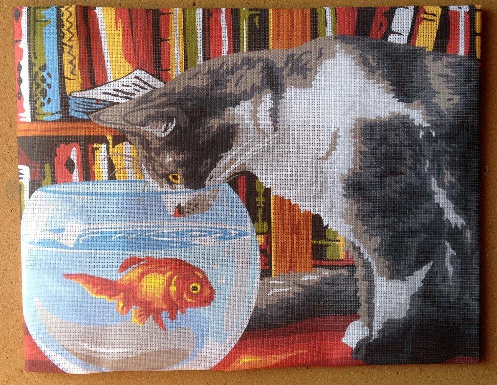 Krainer Kit para Bordar Cañamazo Estampado para Medio Punto Gato con pecera 50x38 Cod K20: Amazon.es: Hogar