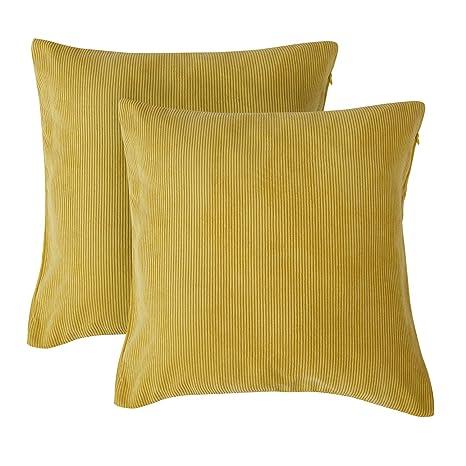 Deconovo Fundas de Cojín Decorativo para Sofá Cama Jardín Pana Almohada Cuadrada 2 Piezas 45 x 45 cm Amarillo