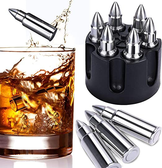 Whiskey Stones Bullets with Base Gold XL Whiskey Ice Cubes Reusable Set of 6 Whiskey Bullets Stainless Steel in Revolver Base Cool Gifts for Men Chilling Whiskey Rocks Gift Set by Amerigo