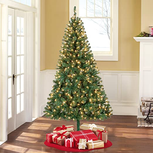 Holiday Time Pre-Lit 6.5\' Madison Pine Green Artificial Christmas Tree,  Clear-Lights