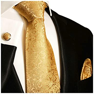e676a352f55f Paul Malone Extra Long Necktie, Pocket Square and Cufflinks Gold at ...