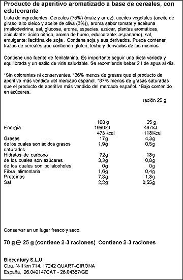 Bicentury - Mini tortitas - Producto de Aperitivo con Sabor Mediterráneo a Base de Cereales - 70 g: Amazon.es: Alimentación y bebidas