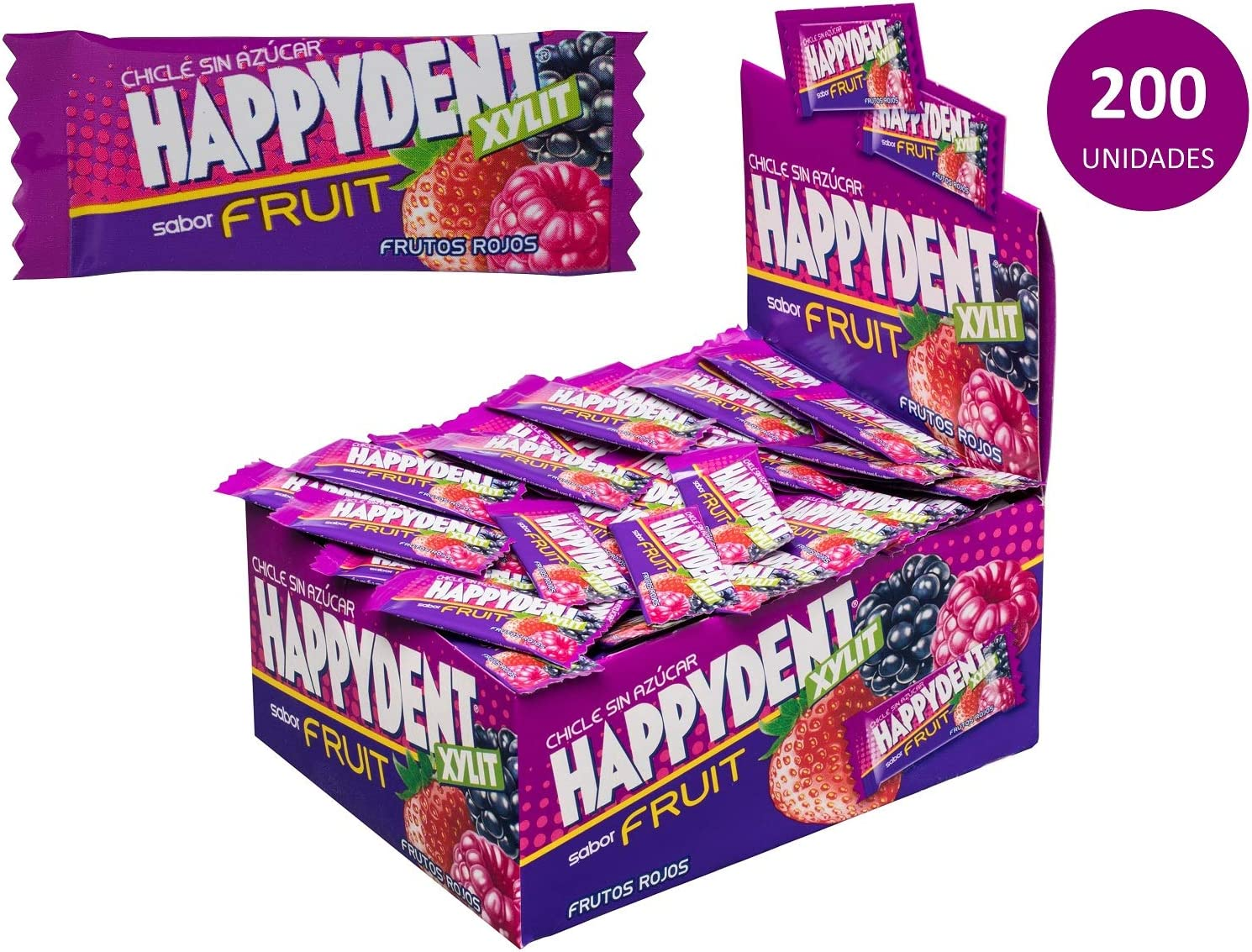 Happydent Frutos Rojos, Chicle Sin Azúcar - 200 unidades: Amazon.es: Alimentación y bebidas