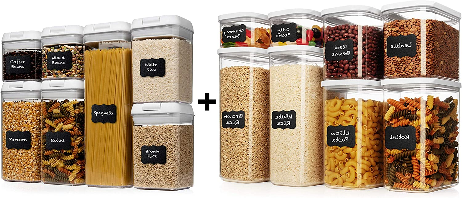 Shazo Airtight Container Set for Food Storage - 8 Piece Set and 7 Piece Set + Heavy Duty Plastic - BPA Free - Airtight Storage Clear Plastic w/White Interchangeable Lids kitchen counter storage Bin