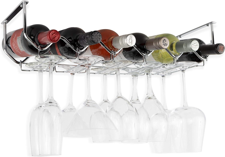 Wallniture Piccola Under Cabinet Wine Rack & Glasses Holder Kitchen Organization with 6 Bottle Organizer Metal Chrome