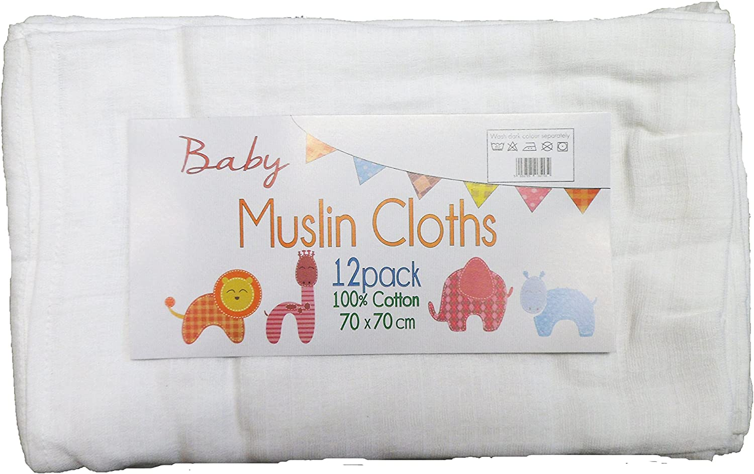 12 Pack White 100/% Cotton Baby Muslin Cloths//Squares 70 x 70 cm