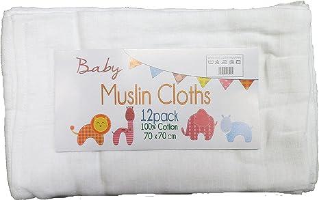 Pack de 12 paños de muselina, cuadrados, 100% algodón, color blanco, 70 x 70 cm: Amazon.es: Bebé