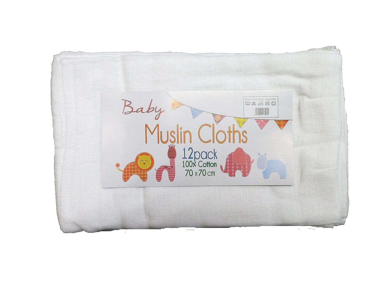 12 Pack of Muslin Burp Cloths/Squares 100% Cotton - White - 70x70cm