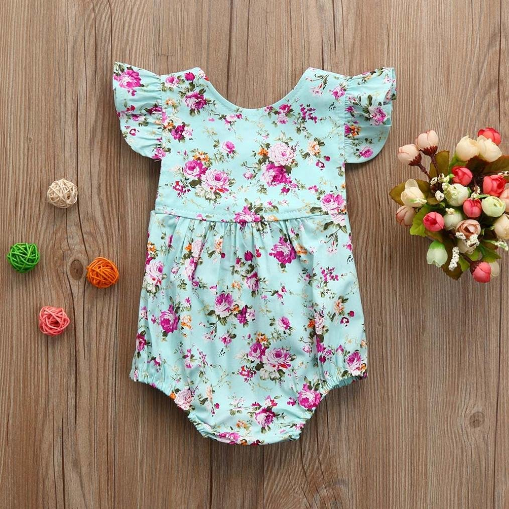 f0851405fd91 Amazon.com  DMZing Newborn Infant Floral Ruffles Short Sleeve Romper  Jumpsuit Baby Girls Sunsuit Outfits Clothes Blue  Clothing