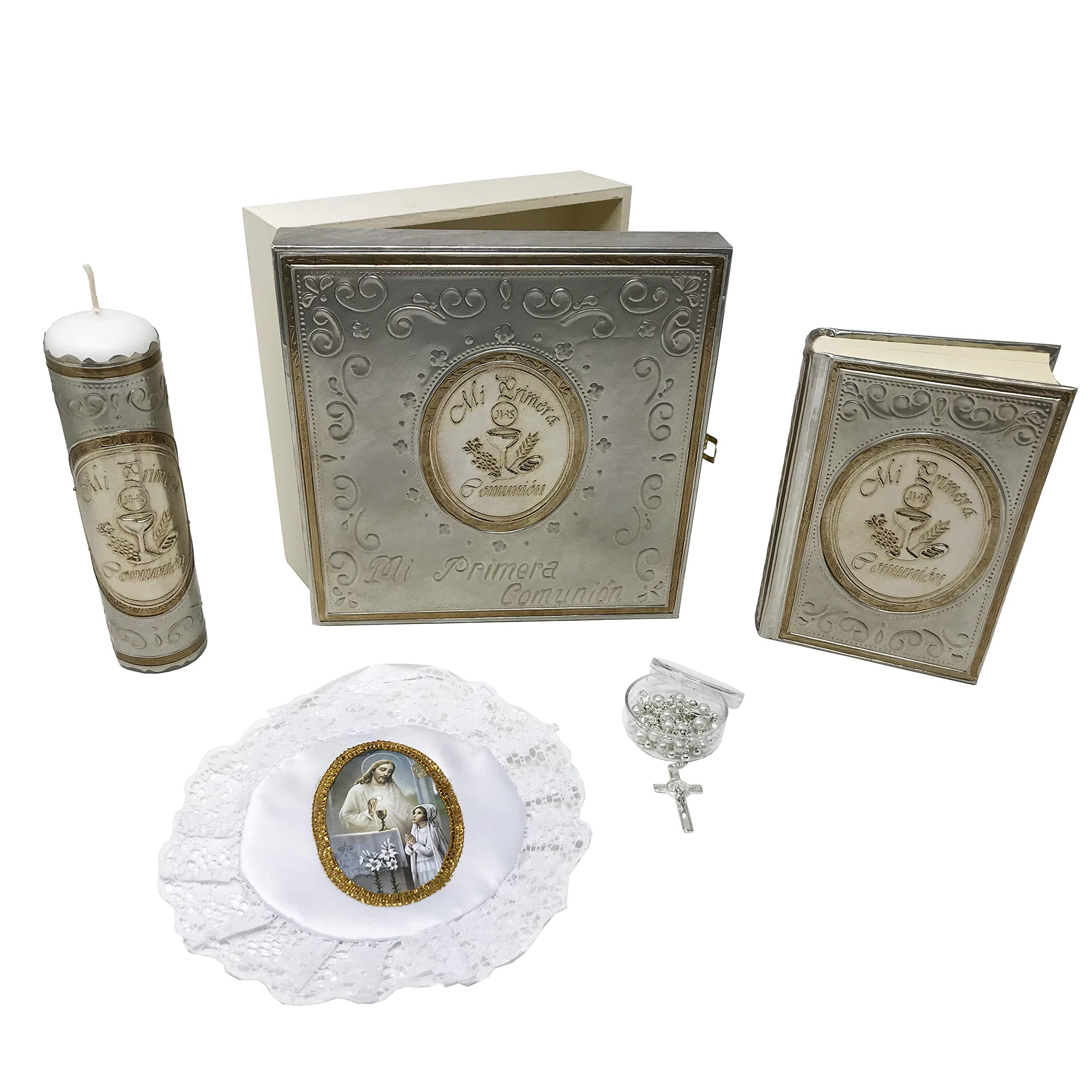 PREMIUM Catholic First Communion Kit in a Repujado Box with Candle, Rosary, Bible (Spanish) and Almoner for Girls. Handmade in Mexico Gift for Godparents. Kit de Primera Comunión.