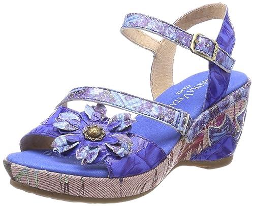 Belinda 028 - Sandalias con Punta Abierta de Cuero Mujer, Color Azul, Talla 39 EU Laura Vita