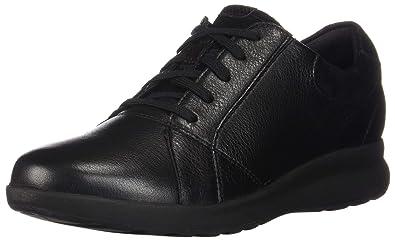 8c65680e153 CLARKS Women s Un Adorn Lace Black Leather Suede Combination 5 ...