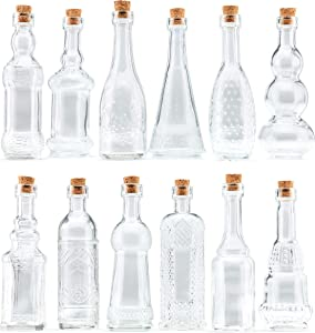 Mini Clear Vintage Glass Potion Bottles with Corks Assorted Shape - Bud Vases and Decorations , Set of 12 pcs, 4.6 Inch Tall (11.43cm), 1.4 Inch Wide (3.56cm)