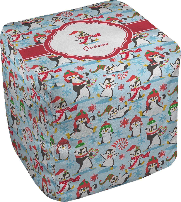 RNK Shops Christmas Penguins Cube Pouf Ottoman - 13'' (Personalized)