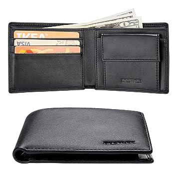 a097b2dab90 Cartera Hombre Rfid Cuero Billetera Tarjetas Crédito con Monedas Bolsillo   Amazon.es  Equipaje