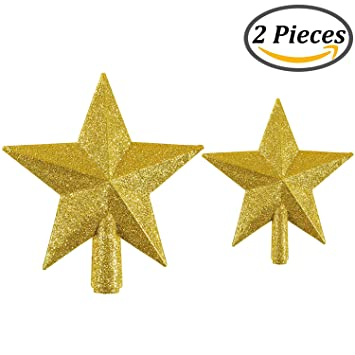 Amazon.com: Resinta Glittered Christmas Tree Topper Star Topper ...