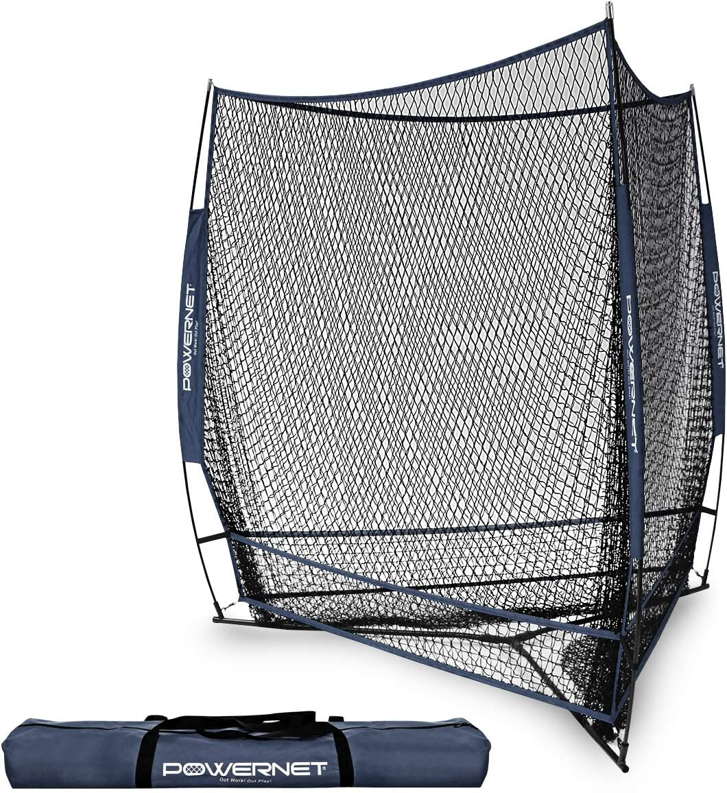 PowerNet Triple Threat Baseball Training Net 3 Way 7 x 7 Batting or Pitching Net Covers 147 Square Feet Pitch or Hit Into Net Train Multiple Stations at Once Player Stand in