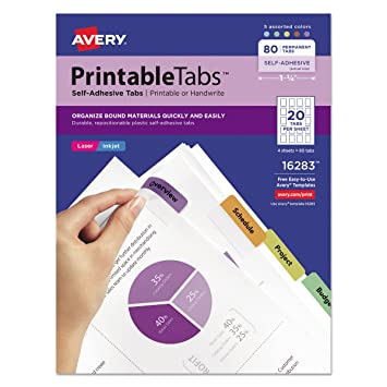 picture regarding Printable Tabs named Avery 16283 Printable Plastic Tabs with Repositionable Adhesive, 1 3/4, Diverse (Pack of 80)