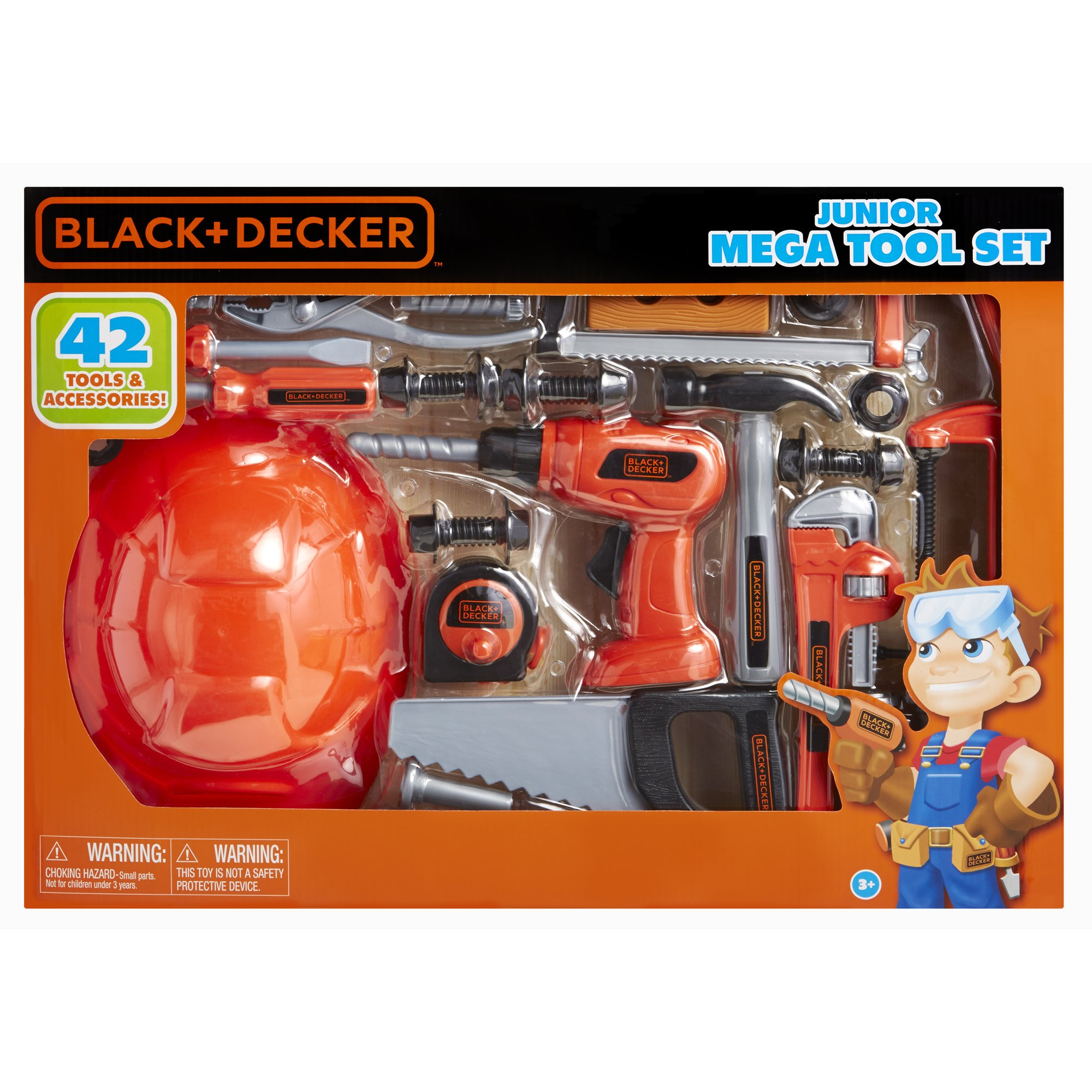 BLACK+DECKER Junior Kids Tool Set - Mega Tool Set with 42 Tools & Accessories! Role Play Tools for Toddlers Boys & Girls Ages 3 Years Old and Above, Includes Helmet! by BLACK+DECKER