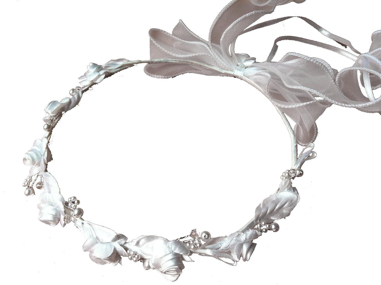LadyMYP /© haarkranz//cheveux et coiffe et noeuds pour les cheveux avec fleurs et de nombreuses perles les mariages enfant et fleur communions