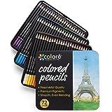 Colore Crayons de couleur - Ensemble de 72 crayons de couleur prime Pré-taillés pour dessiner des pages à colorier - Un super équipement d'art scolaire pour enfants et adultes - Livres à colorier- 72 couleurs