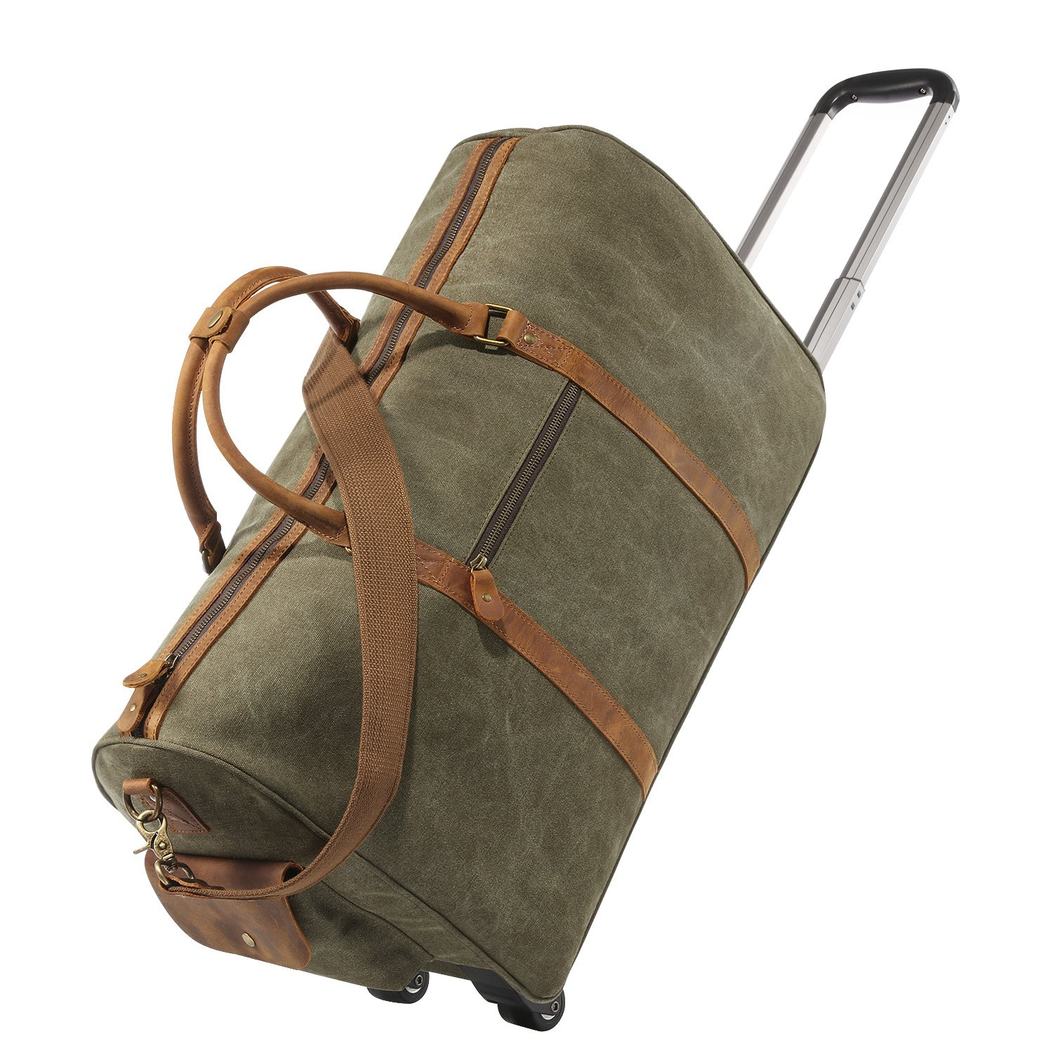 a999bd0b55 Kattee Oversized Canvas Leather Trim Wheeled Duffle Bag Travel Holdall  Weekend Tote (Army Green)  Amazon.co.uk  Clothing