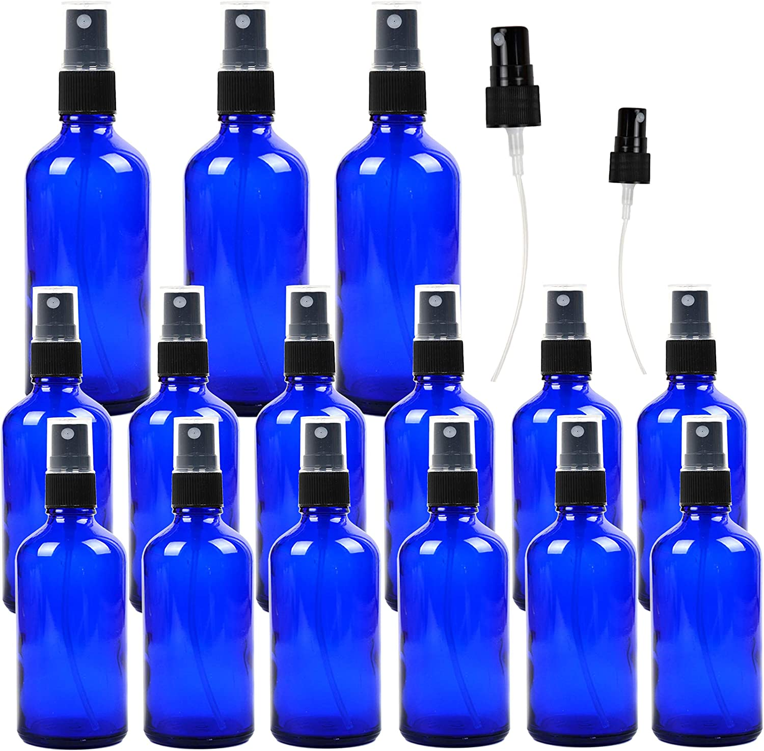 Youngever 15 Pack Empty Cobalt Blue Glass Spray Bottles, 3 Pack 4 Ounce and 12 Pack 2 Ounce Refillable Containers for Essential Oils, Cleaning Products, Aromatherapy, Durable Black Fine Mist Sprayers