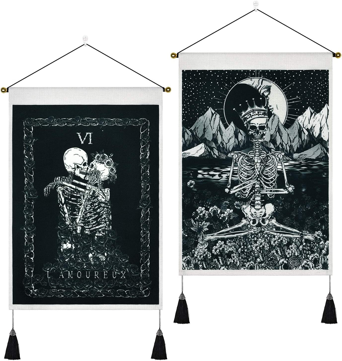 2 Pack Skull Tapestry Kissing Lovers Tapestry Meditation Skeleton Tapestries Tarot Black and White Tapestry for Room(13.8 x 19.7 inches)