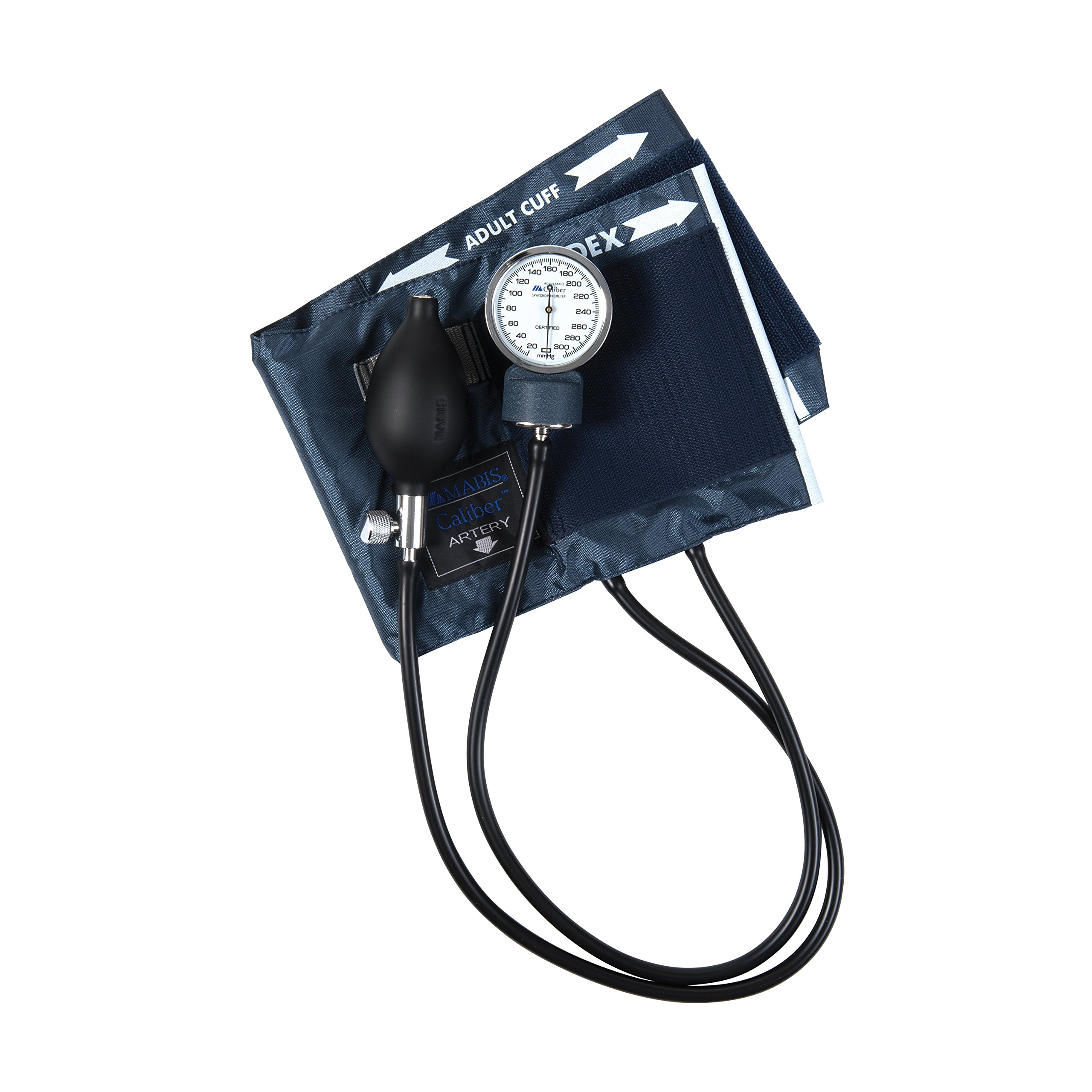 MABIS CALIBER Series Adjustable Aneroid Sphygmomanometer with Mini Screwdriver, Calibrated Blue Nylon Cuff and Deluxe Carrying Case, For Professional or Home Use, Adult, Cuff Size 11 to 16.4 Inches, Blue by MABIS DMI Healthcare (Image #5)