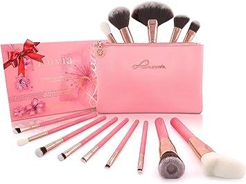 """Set de Brochas de Maquillaje con Estuche """"SAKURA"""" – Kit de Pinceles Cosméticos de Luvia Cosmetics – No testado en Animales/Vegano: Amazon.es: Belleza"""