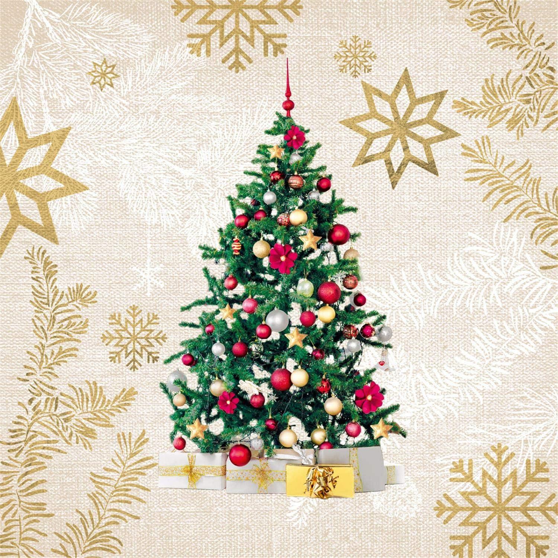 Natale motivo: albero blu circa 33 x 33 cm per autunno inverno per feste Tovaglioli di carta di Natale