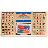 Melissa & Doug Juego de sellos del alfabeto, sellos con letras minúsculas y mayúsculas, 4 colores, 56 sellos, 3.81 cm alto × 16.51 cm ancho × 30.48 cm largo