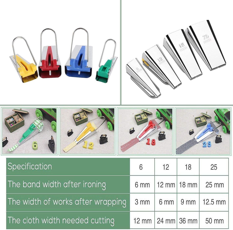 25 mm con prensatelas de encuadernaci/ón de cinta 18 mm 12 mm Kit de fabricante de cintas de encuadernaci/ón de sesgo de tela de 4 tama/ños Herramienta de acolchado de costura de 6 mm