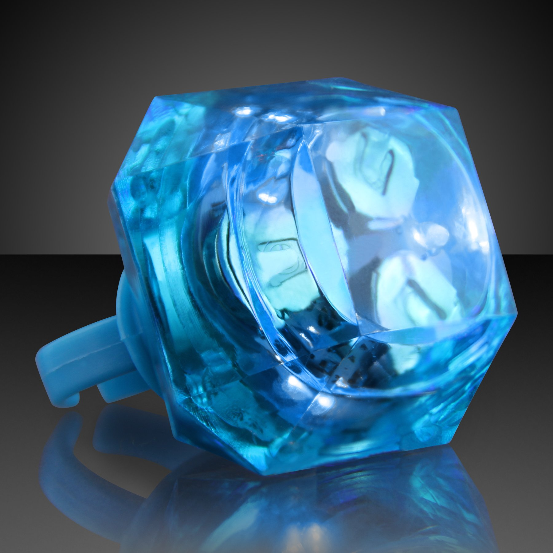 FlashingBlinkyLights Blue Huge Gem Light Up LED Rings (Set of 24)