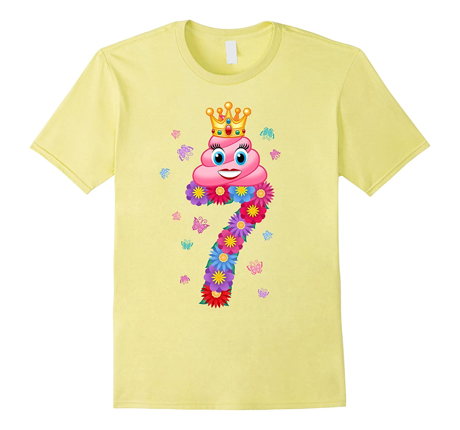 Poop Emoji Princess Cute Girls 7th Birthday T Shirt