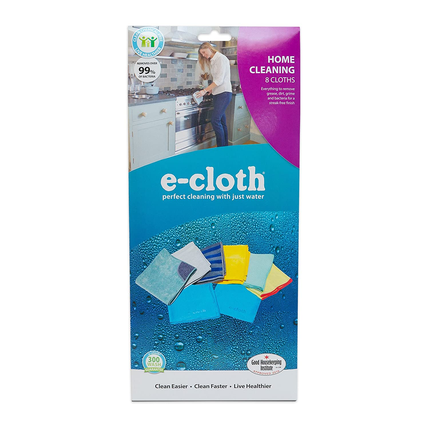 E Cloth 8 Cloth Home Cleaning Set, Perfect Chemical Free Cleaning With Just Water, 99 Percents Antibacterial by E Cloth