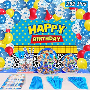 Toy Story Birthday Party Supplies Decorations, 16 Serves Set Including Backdrop, Balloons, Invitations Card, Napkins, Plates, Cups, Knives, Forks, Spoons, Straws, Tablecloth Cover, Flatware Kit For Boys Kids Birthday Décor