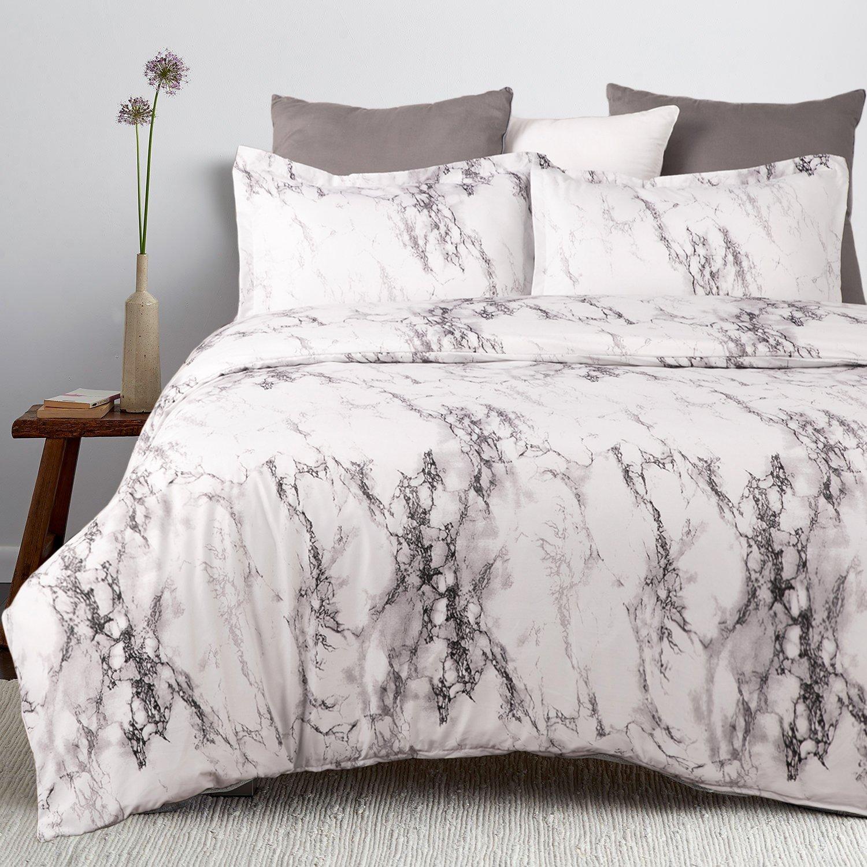 Bedsure Marble Design Duvet Cover Set with Zipper Closure-Printed Bedding Set,Full/Queen (90''x90'')-3 Piece (1 Duvet Cover + 2 Pillow Shams)-Ultra Soft Hypoallergenic Microfiber